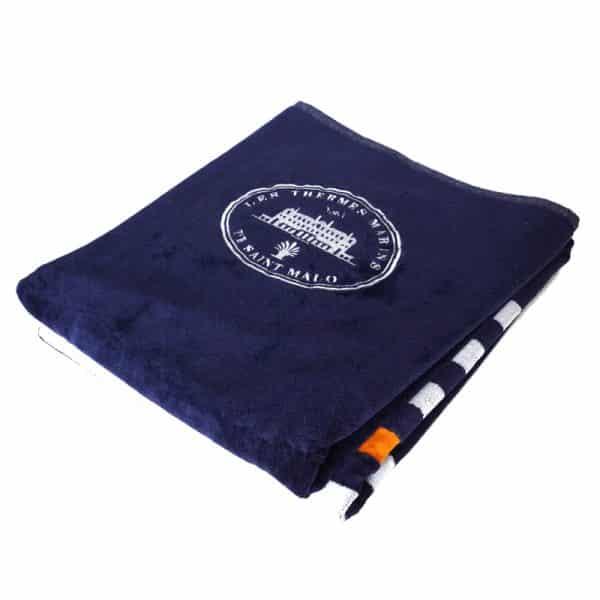 Drap de bain Bleu Marine à rayures 1